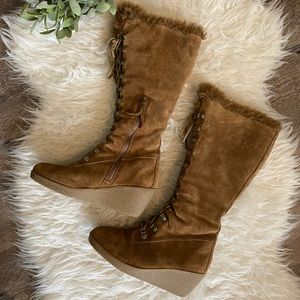 LOFT leather tall lace up wedge boots